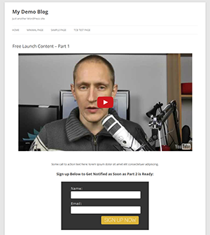 Configuração de baixo orçamento: tema WordPress gratuito, video YouTube & form Aweber.